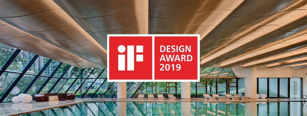 iF World Design Guide Design Award 2019 logo with indoor swimming pool and white lounge chairs