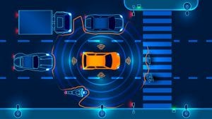 Animated traffic diagram shows a yellow car with NEC sensors detecting other cars, pedestrians, and cyclists